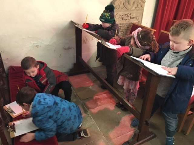 The pupils sketched their favourite church features.