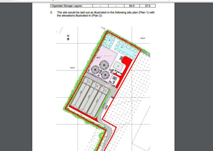 The plan for an anaerobic digestion plant at Gonerby Moor, east of the A1, proposed by Moor Bio-Energy Ltd.