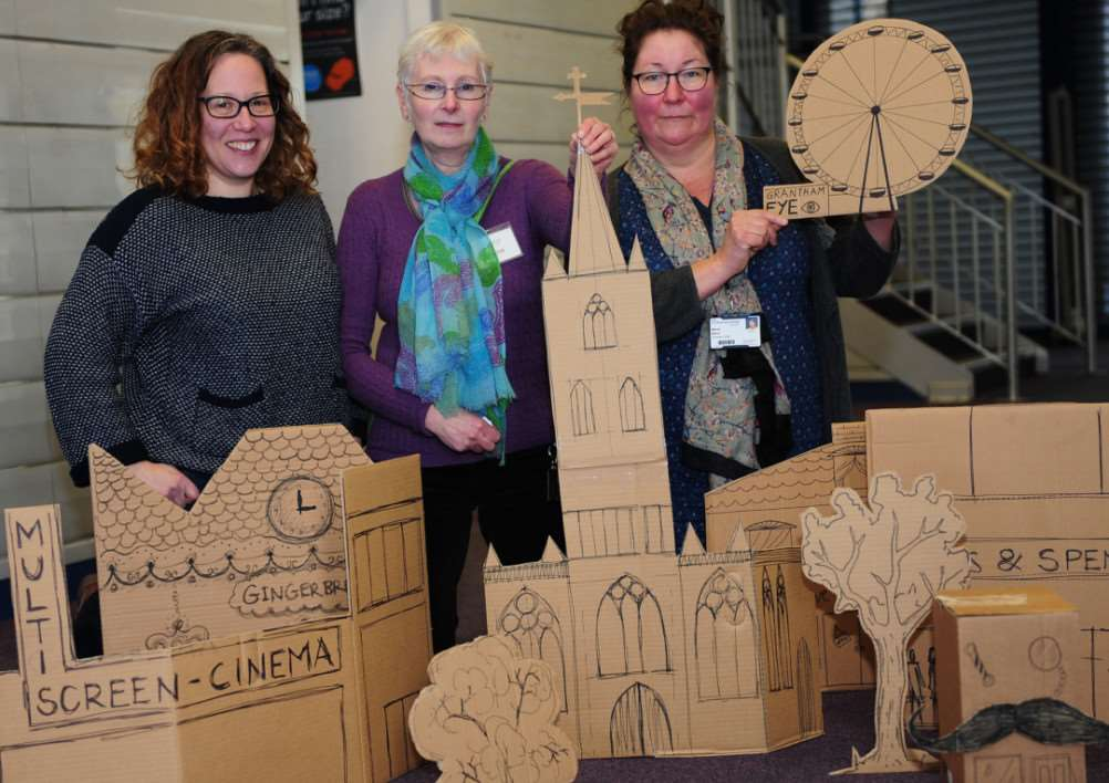 Displaying the future of Grantham - in cardboard - are Cora Glass, Christine Robbins and Mandy Moore.