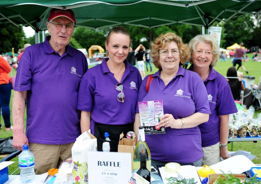 Dysart Park Fun Day: Coun Mike Cook, Hannah Martin, Libby Simpson and Madge Cook.