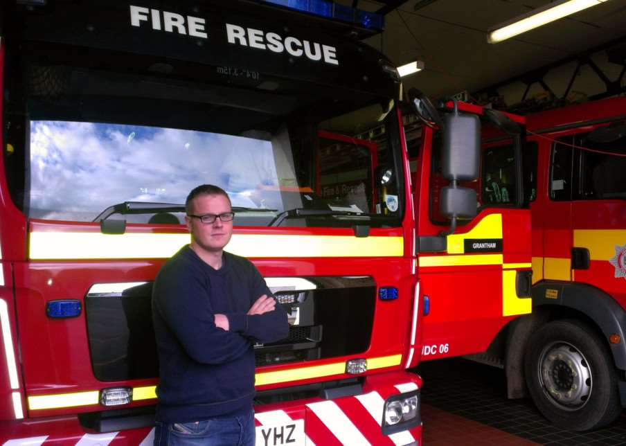 Chairman of Lincolnshire Fire Brigade Union Ben Selby at Grantham fire station. Photo: 0290A
