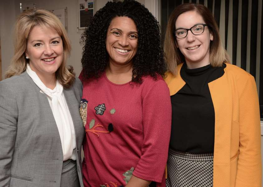 Motivational speech: From left, Susan Dench, Jaz Ampaw-Farr and Gillian Brady.