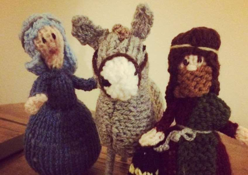 The knitted nativity has been welcomed in different homes each night in December.