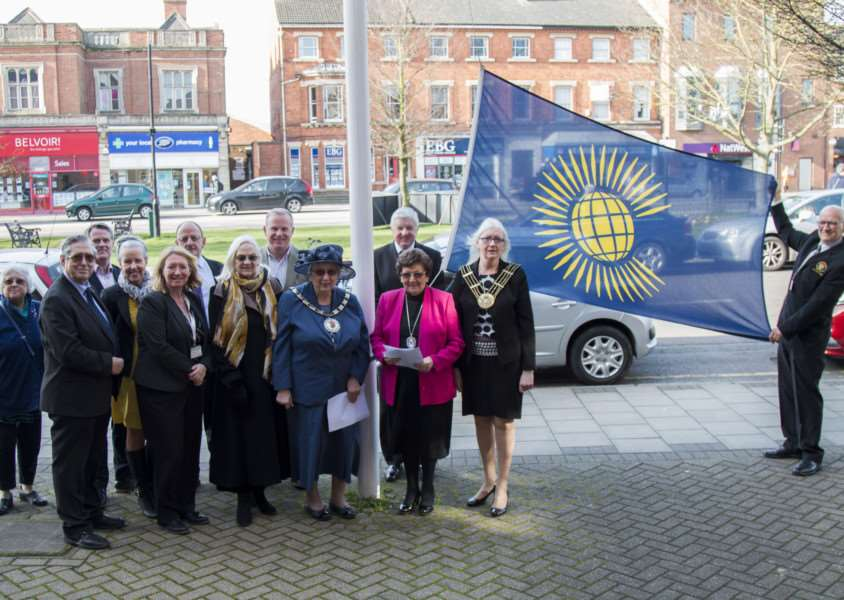 The raising of the flag on Commonwealth Day in Grantham.