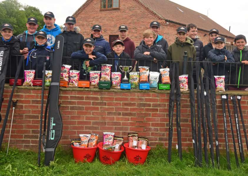 Toot Hill's Great Rod Race: Children in front of the pile of prizes kindly donated by the various sponsors.