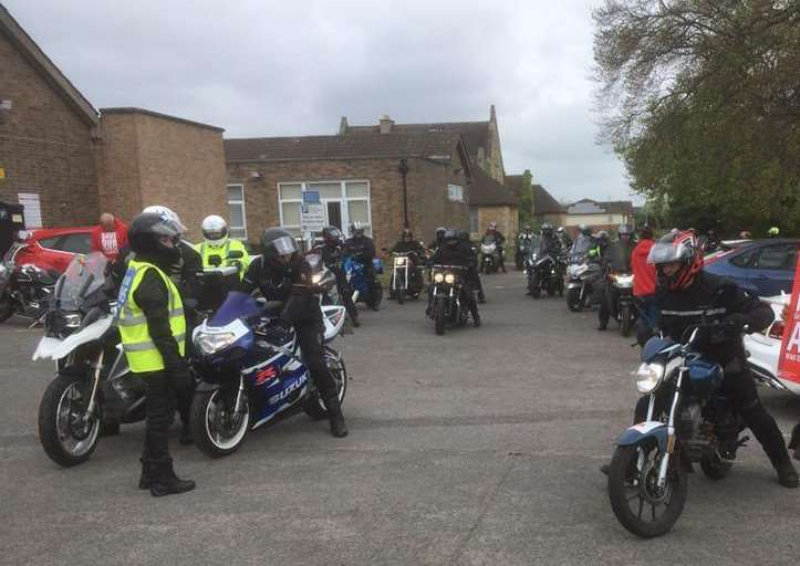The bikers leave Grantham Hospital on the rally organised by Fighting 4 Health Lincolnshire. Photo: Anne-Marie Dobson Facebook