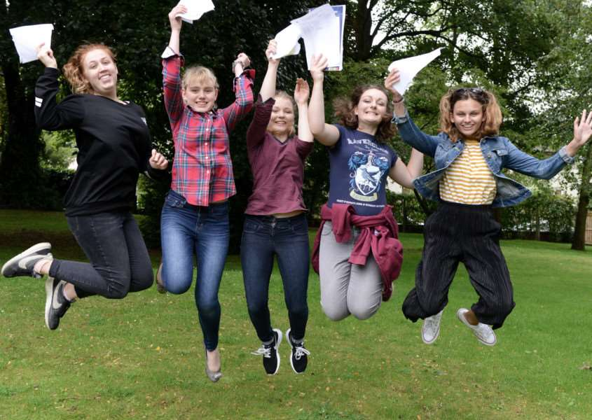 A-levels, KGGS: Charlie Cole, Eleanor Day, Anna Harris, Jennifer Roberts and Rebecca Barnatt-Smith.