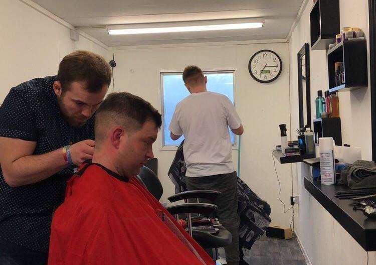 The A1 BarberStop on the A1, Colsterworth and (inset, left) Aiden Green and Shaun Ducey at work in the converted unit.
