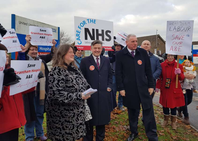 Grantham hospital campaigners meet the Shadow Secretary of State for Health, John Ashworth MP, at the town's hospital. Coun Charmaine Morgan, chairman of SOS Grantham Hospital, is pictured left with Mr Ashworth, centre, and Vernon Coker, MP for Gedling, right.