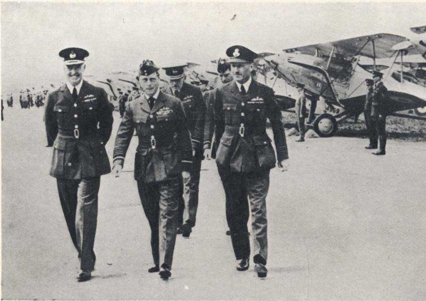 Laura's great uncle Ken Wilson, right, escorts King Edward VIII around RAF Wittering in 1936.