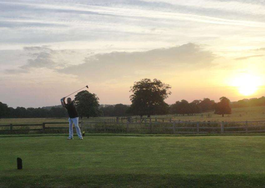 Belton Park's Steve Preston teeing off on the fifth at 5.15am.