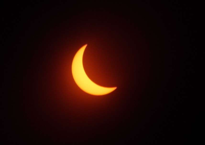 The solar Eclipse as seen from Sarah Keen and Nick Higham, Mablethorpe EMN-150320-121627001