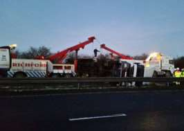 Recovery of overturned lorry on A1. Photo taken by Will Allen.