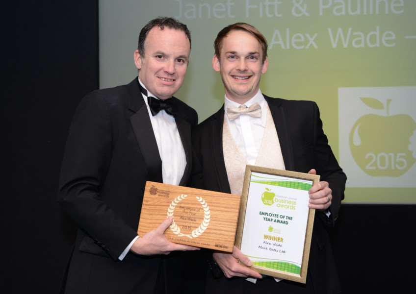 Alex Wade, right, receives his accolade from Stuart Pigram of Grantham Business Club at the Journal Business Awards.