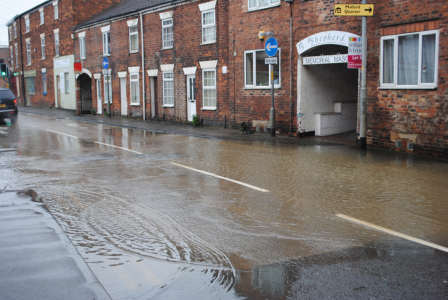 Flooding at the bottom of Dysart Road, Grantham.