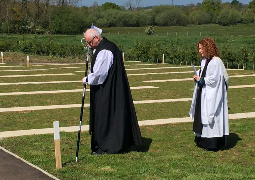 The Bishop of Lincoln, The Rt Rev Christopher Lowson, consecrates the new cemetery at Ancaster. Photo: David Sayer