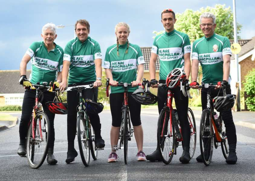 John Cussell, Stuart Wade, Laura and Chris Graves and Roger Graves prepare to take part in the Ride London 100.