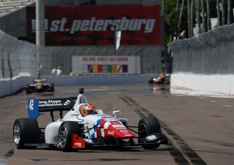 Jack Harvey on track to second place in Florida.