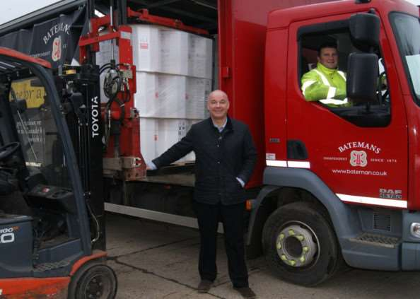 Managing Director of Batemans Brewery Stuart Bateman with a delivery headed overseas.