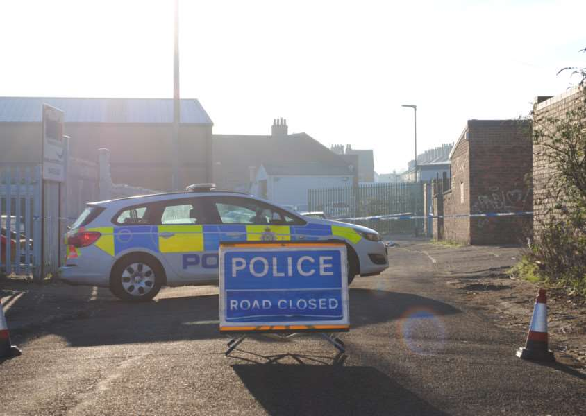 Police outside the incident on Inner Street, Grantham, during their investigation.