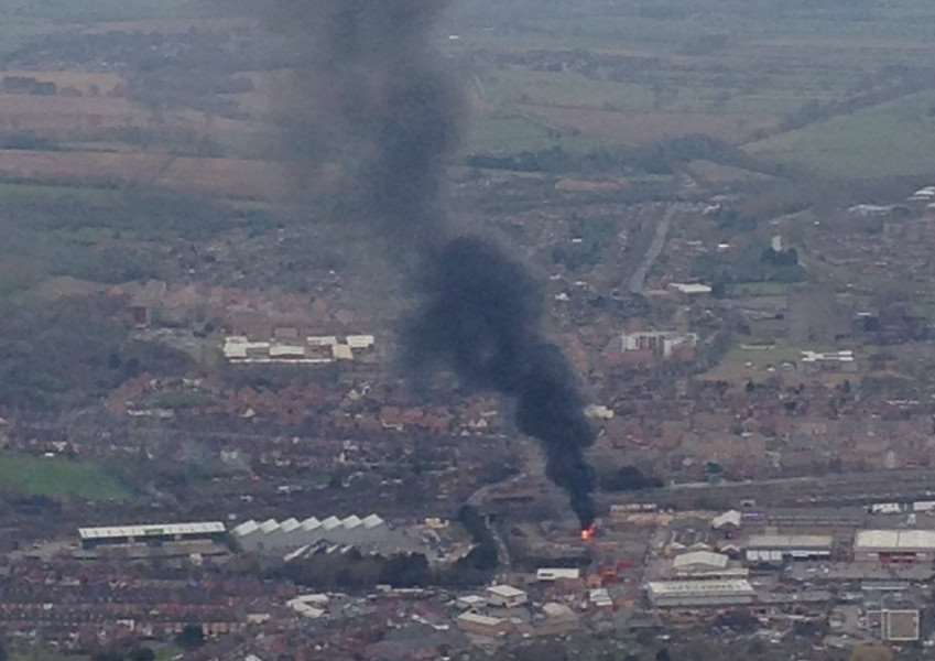 An aerial view of the fire captured by Hayley Broad from a hot air balloon