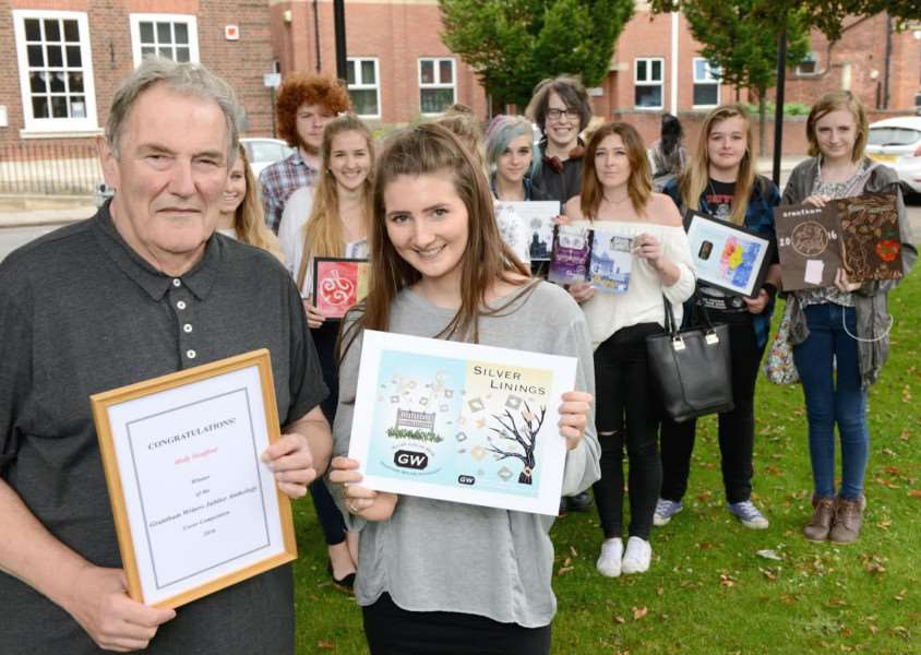 Peter Clawson with Holly Heafford, winner of a Grantham Writers art and design competition