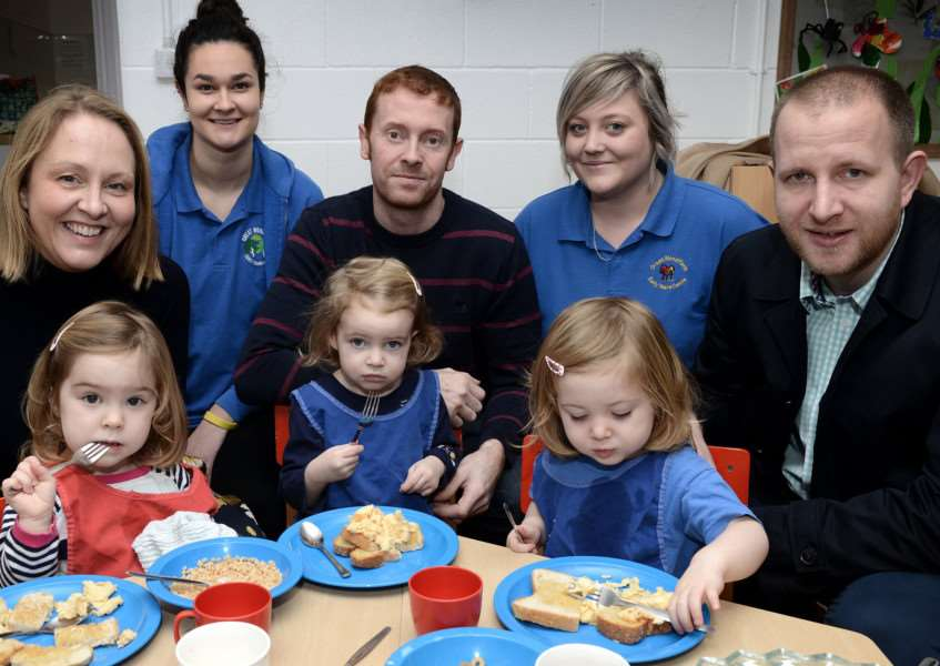 Tucking in: Back, from left, Charlotte Moffat and Emma Thorp. Middle, from left, Jenny Brown, George orme, Graham Harper. Front, from left, Sophia Brown, Isabella Orme and Matilda Harper.