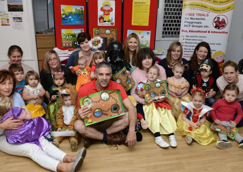 Club leader Andreas Alkiviades with some of the little explorers at his Jo Jingles class on Monday.