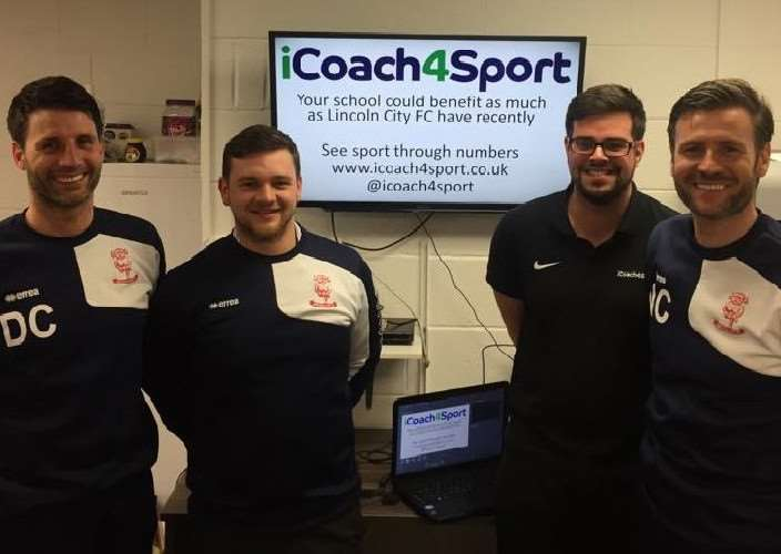 Virsco directors and instructors at Grantham Additional Needs Fellowship Matt Page and Toby Ellis with Lincoln City manager Danny Cowley, left, and his assistant and brother Nicky Cowley.