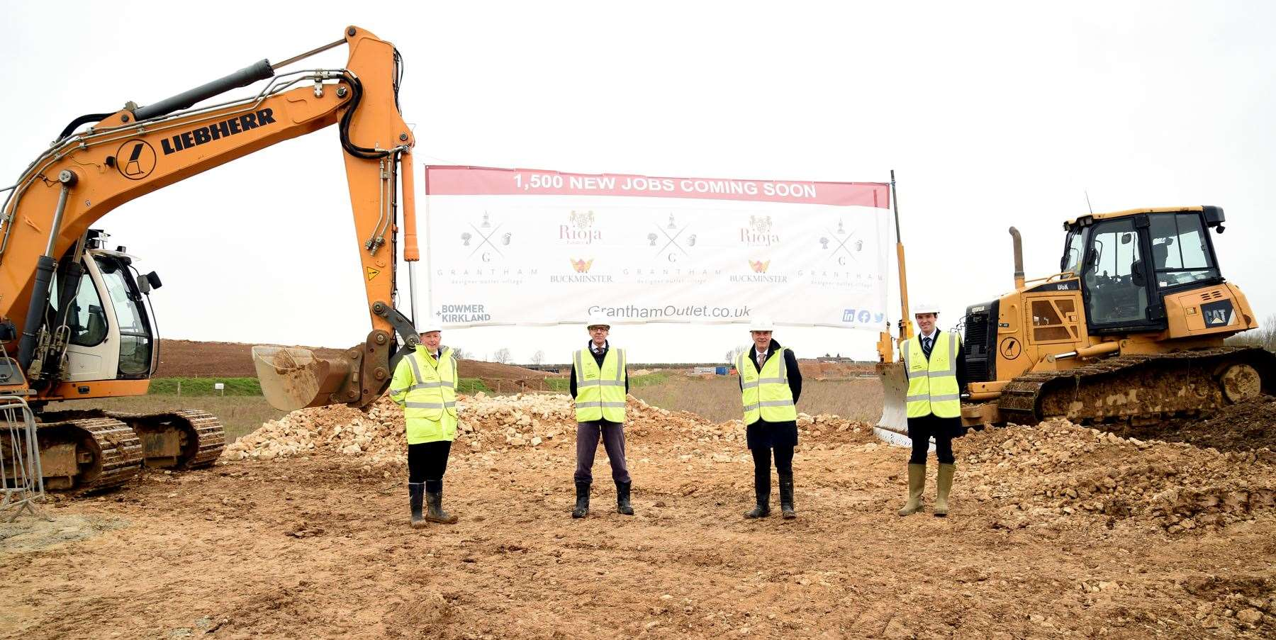 Gathering at the groundbreaking for the Grantham Designer Outlet Village are, from left, Gary Bradley, of Bowmer and Kirkland, William Lee of Buckminster, Giles Membrey of Rioja Developments, and Councillor Kelham Cooke, leader of SKDC. (45241768)