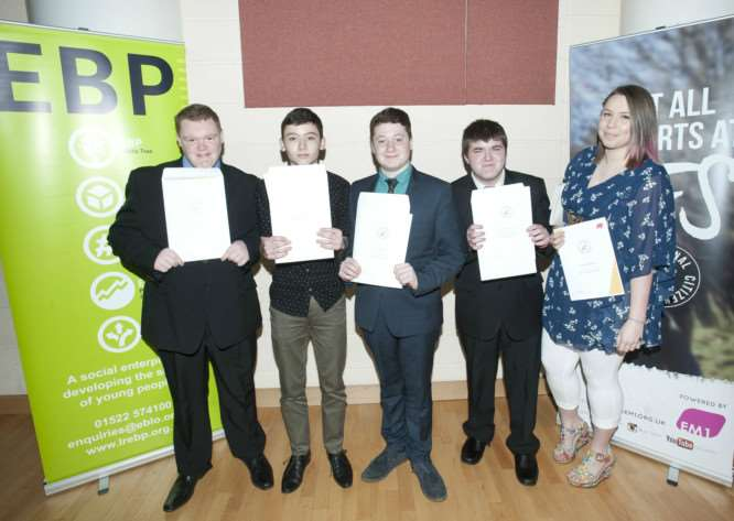 Grantham NCS graduates Aaron Ringwood, 16, Ben Shrouder, 16, Edward Fox, 16, Dale Dickinson, 18, with Marielle Newton, NCS team leader.