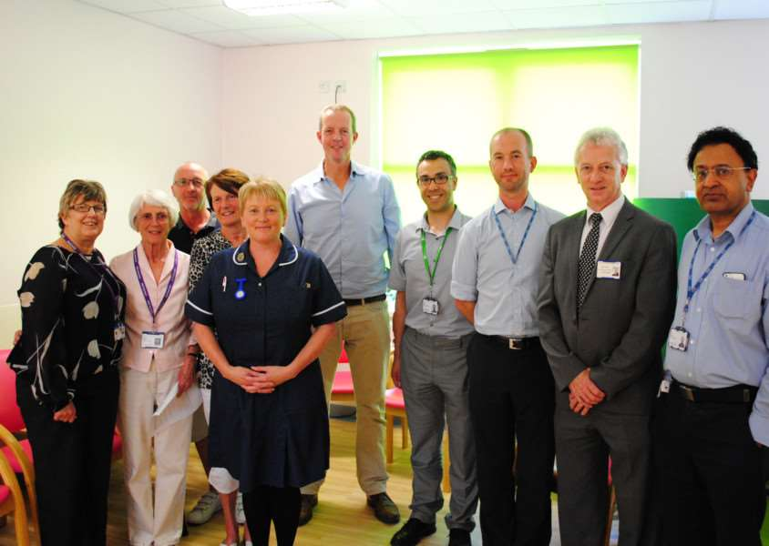 Nick Boles MP joins staff and fund-raisers in the Emerald Suite at Grantham Hospital.