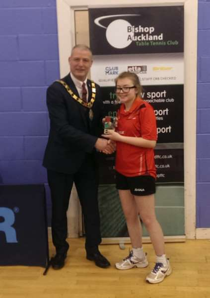 Alexandra Robinson receiving her runners-up trophy from the Mayor of Bishop Auckland Colin Race.