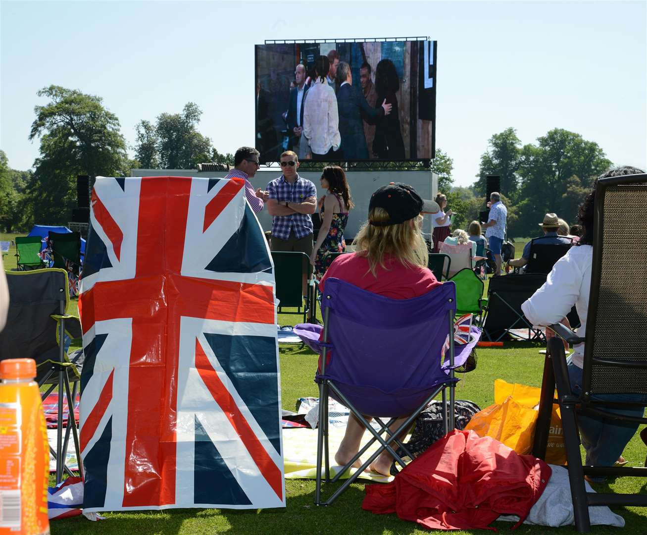 The big screen at Belton House for the royal wedding. (2109394)