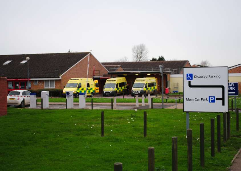 Ambulances at Grantham Hospital A&E department.