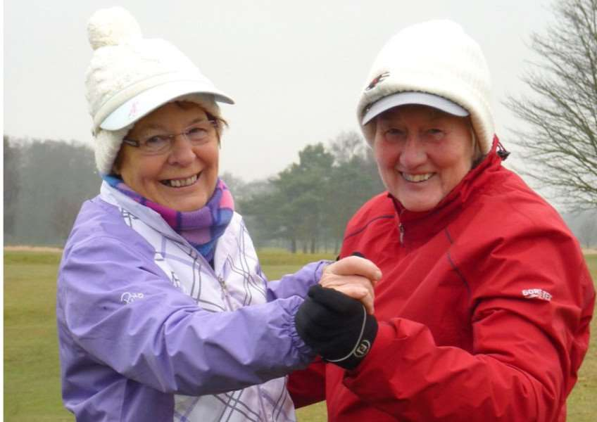 Belton Park ladies Wendy Wright (right) left Carole Steele wrap up warm to warm off wind.