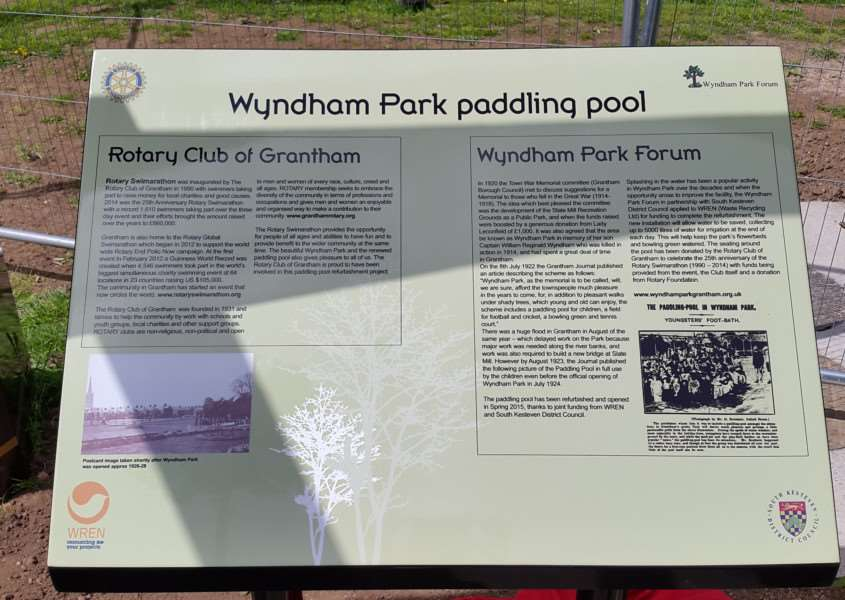 Information board by the paddling pool in Wyndham Park, Grantham.