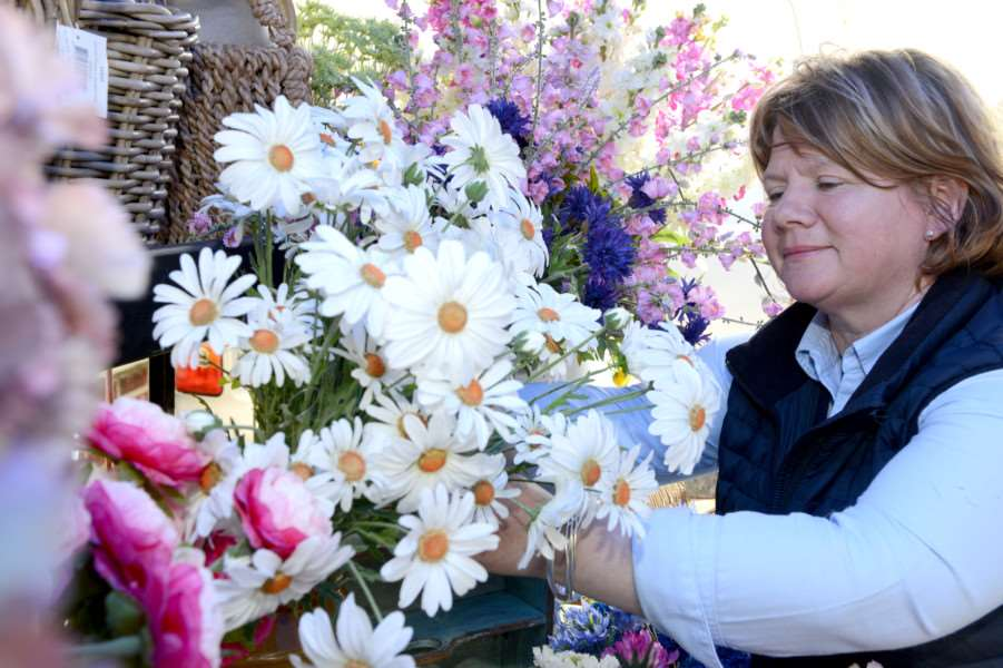 Sue Jackson on a flower stall at Denton Street Market.