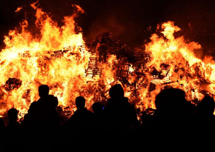 Bonfire and fireworks in Grantham.