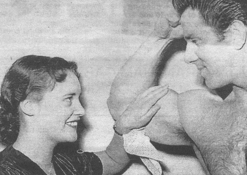 Miss Grantham 1956 ' Terissa Buxton, of Ropsley ' with 1951 Mr Universe, Reg Parks.