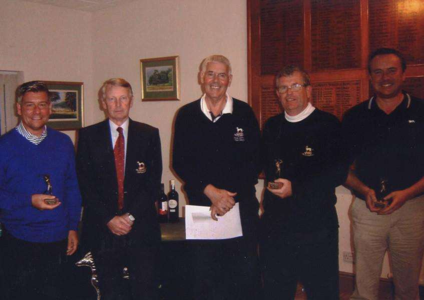 Pictured from left are Stuart Smith, Belton Park club captain Paul Screen, Dream Team captain Tony Davies, Colin Mason and Andy Trotter.
