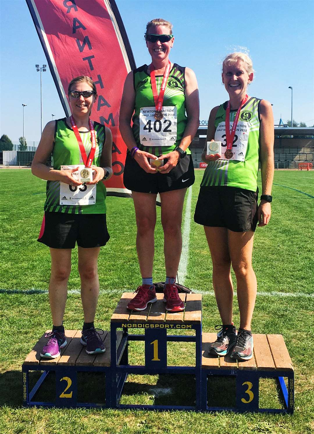 (L to R): Hannah San Jose; Helen Brown; and Caroline Davis - winners of the Women's Team Prize for Grantham Running Club at the Newton's Fraction Half Marathon, held on Sunday 2nd September 2018. Image courtesy of Edina Burns for editorial use only. (4091477)