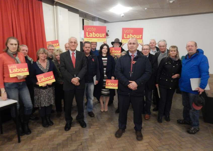Jim Clarke (right) is selected as the Labour Party candidate for the Sleaford and North Hykeham by-election, pictured with party members and chairman Michael Hudson (left). EMN-161011-085842001