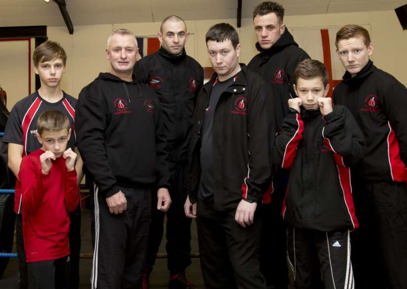 Head coach Dean Fardell and some Grantham Amateur Boxing Club members.