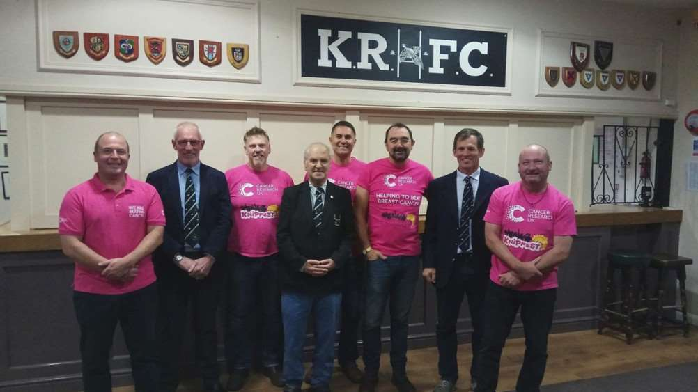 The Knipfest committee with members of Kesteven Rugby Club, from left, Mike Money, Bill Berridge and David Epton.