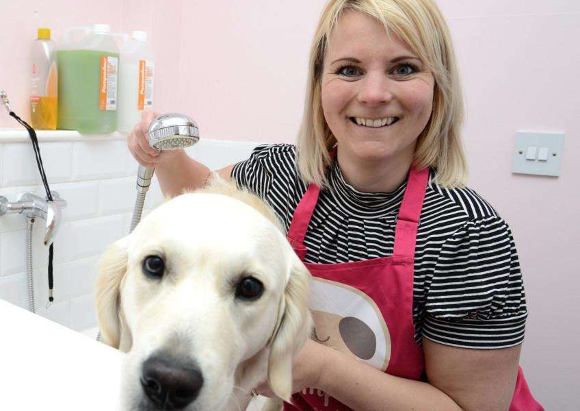 Kathryn Larkin and Sansa in the grooming parlour at their home on Harrowby Lane.