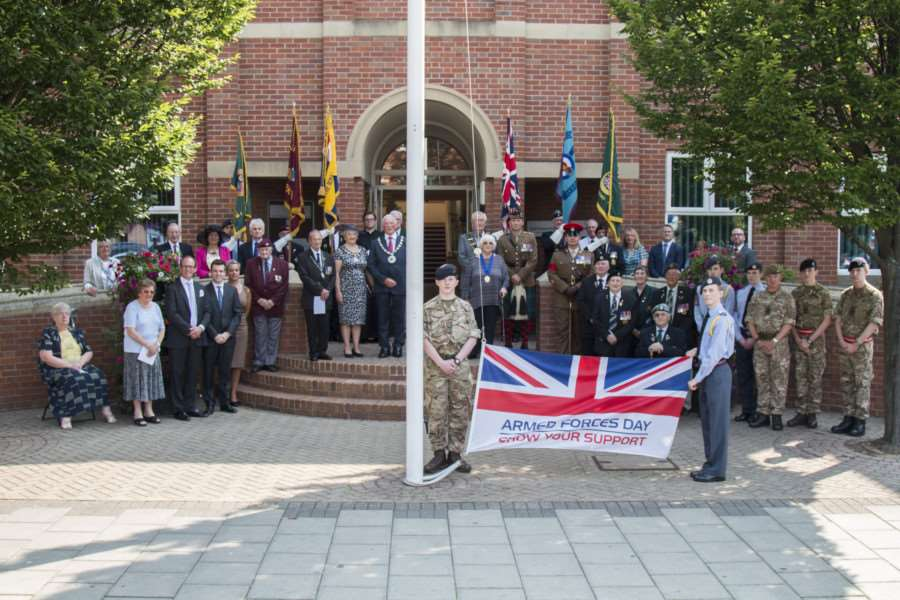 The flag-raising ceremony at South Kesteven District Council offices to mark Armed Forces Day.
