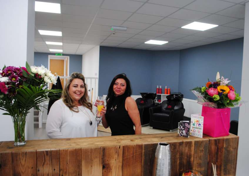 Katie Jude-Plant and business owner Mel Wade at House of Hair in Westgate, Grantham.