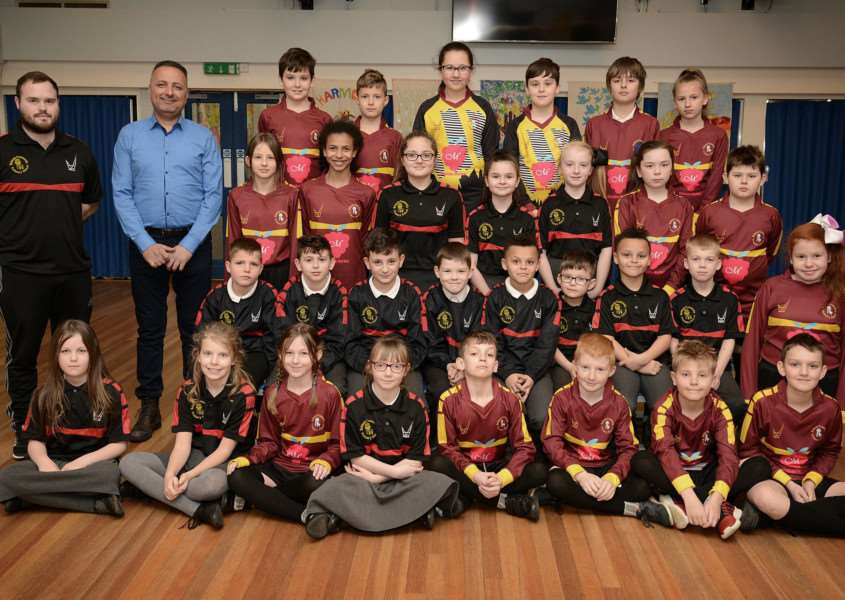 Pupils at Belmont Primary School are proud of their new sports kit.