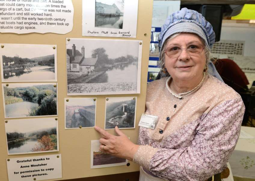 Rosemary Ginson at the exhibition stand on Grantham Canal Society's Discovery Day